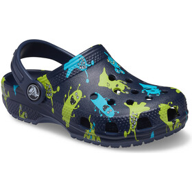 Crocs Classic Monster Print Clogs Kids, navy